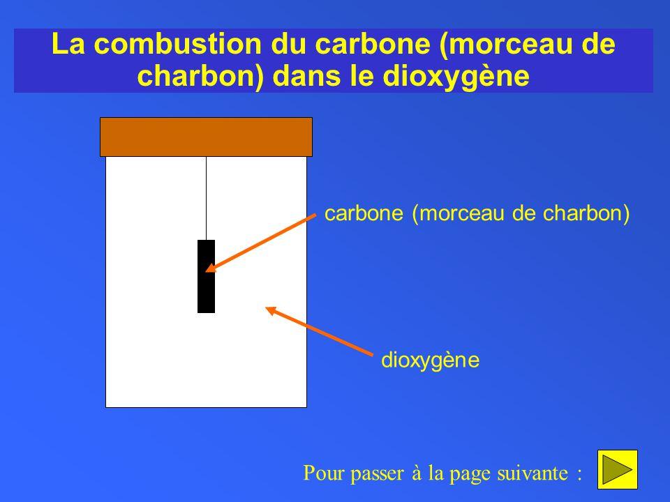 La combustion du carbone (morceau de charbon) dans le dioxygène Pour passer à la page suivante : carbone (morceau de charbon) dioxygène