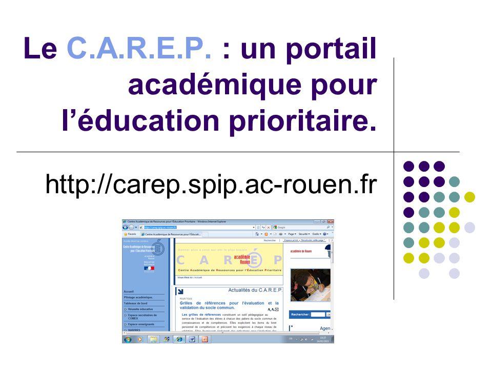 Les objectifs du CAREP Informer les acteurs de léducation prioritaire.
