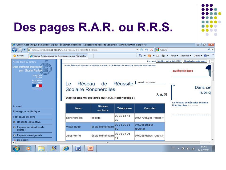 Des pages R.A.R. ou R.R.S.