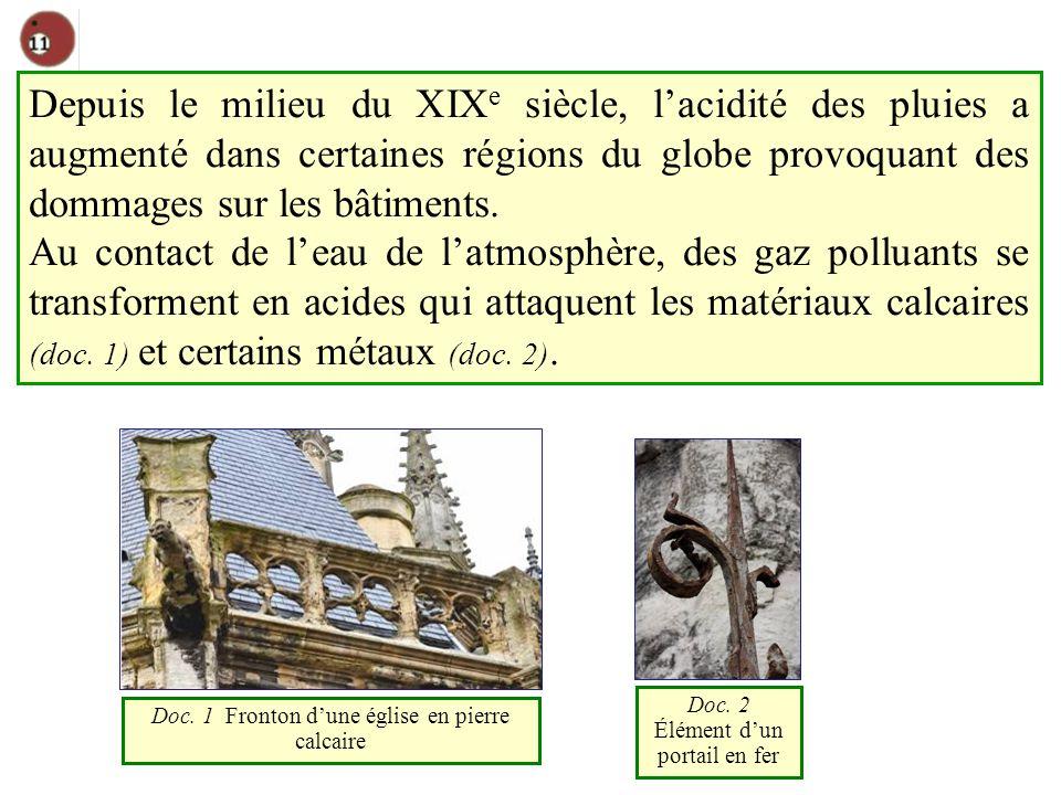 Depuis le milieu du XIX e siècle, lacidité des pluies a augmenté dans certaines régions du globe provoquant des dommages sur les bâtiments.