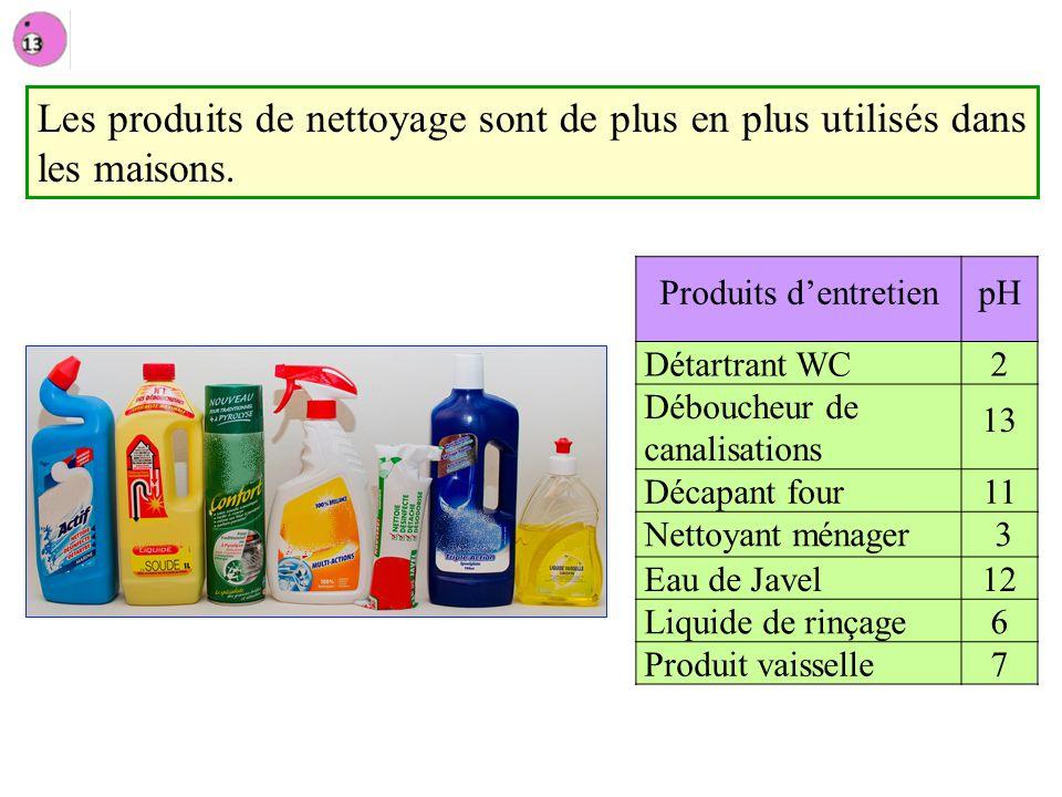 Les produits de nettoyage sont de plus en plus utilisés dans les maisons. Produits dentretienpH Détartrant WC2 Déboucheur de canalisations 13 Décapant