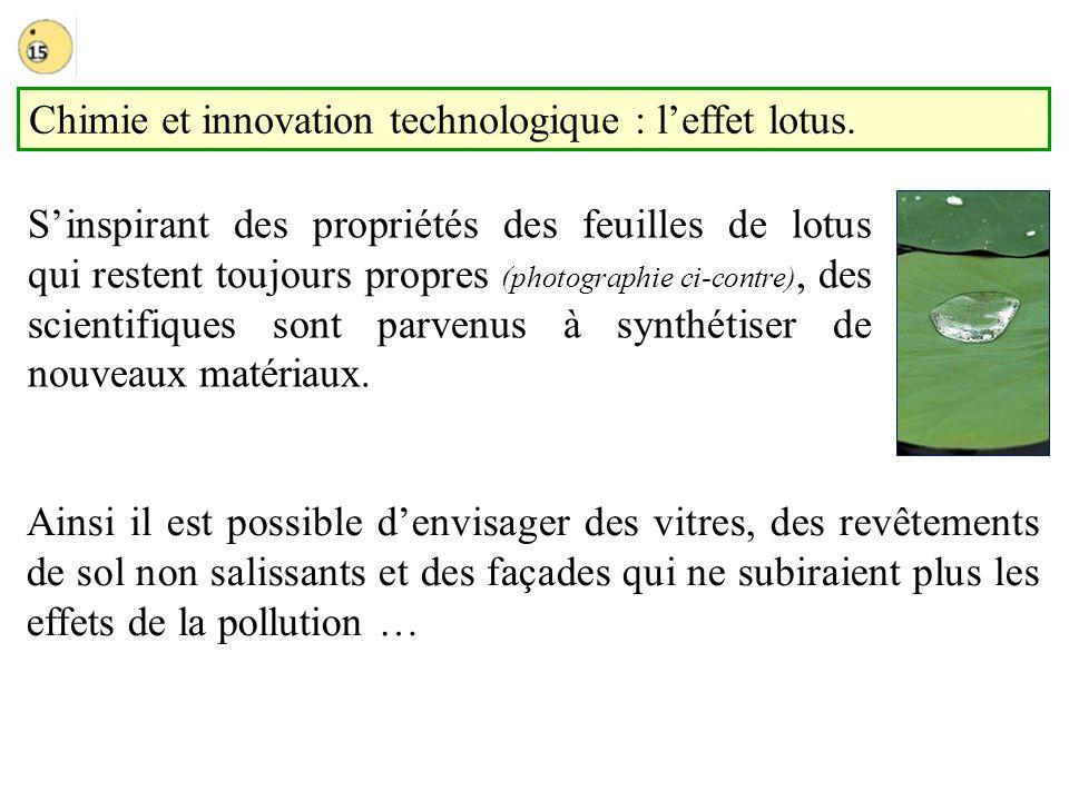 Chimie et innovation technologique : leffet lotus. Ainsi il est possible denvisager des vitres, des revêtements de sol non salissants et des façades q