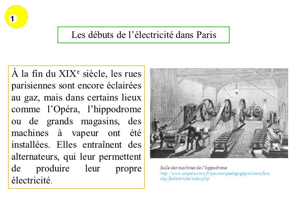 Les débuts de lélectricité dans Paris À la fin du XIX e siècle, les rues parisiennes sont encore éclairées au gaz, mais dans certains lieux comme lOpé