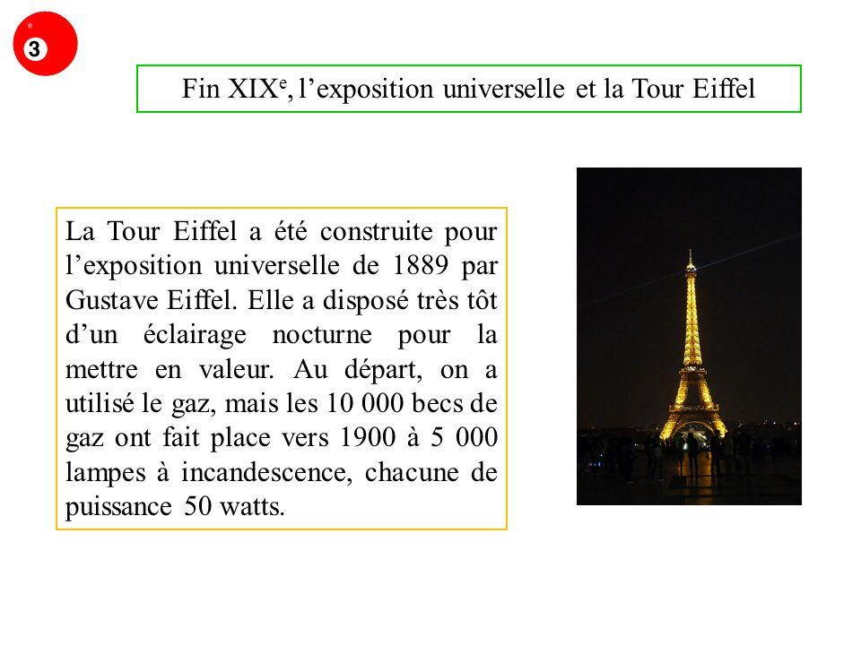 Fin XIX e, lexposition universelle et la Tour Eiffel La Tour Eiffel a été construite pour lexposition universelle de 1889 par Gustave Eiffel. Elle a d