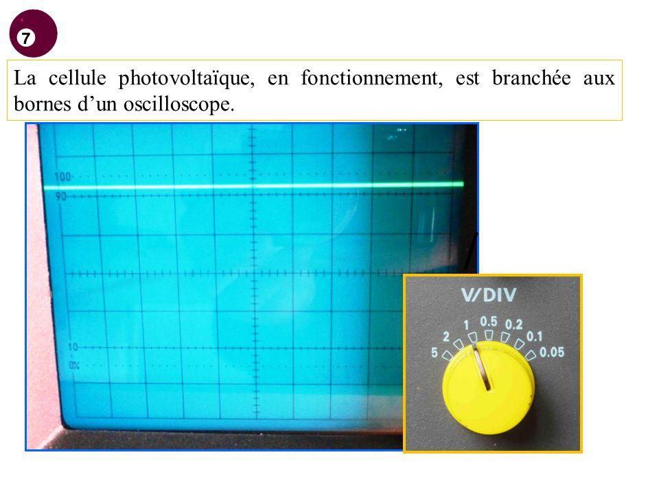 La cellule photovoltaïque, en fonctionnement, est branchée aux bornes dun oscilloscope.