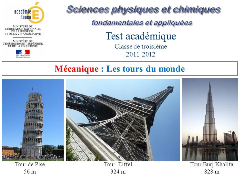 Test académique Classe de troisième 2011-2012 Tour de Pise 56 m Tour Eiffel 324 m Tour Burj Khalifa 828 m Mécanique : Les tours du monde