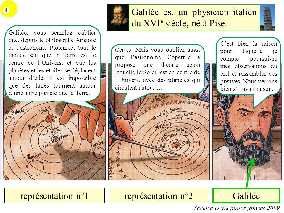 représentation n°1représentation n°2 Science & vie junior janvier 2009 Galilée est un physicien italien du XVI e siècle, né à Pise.