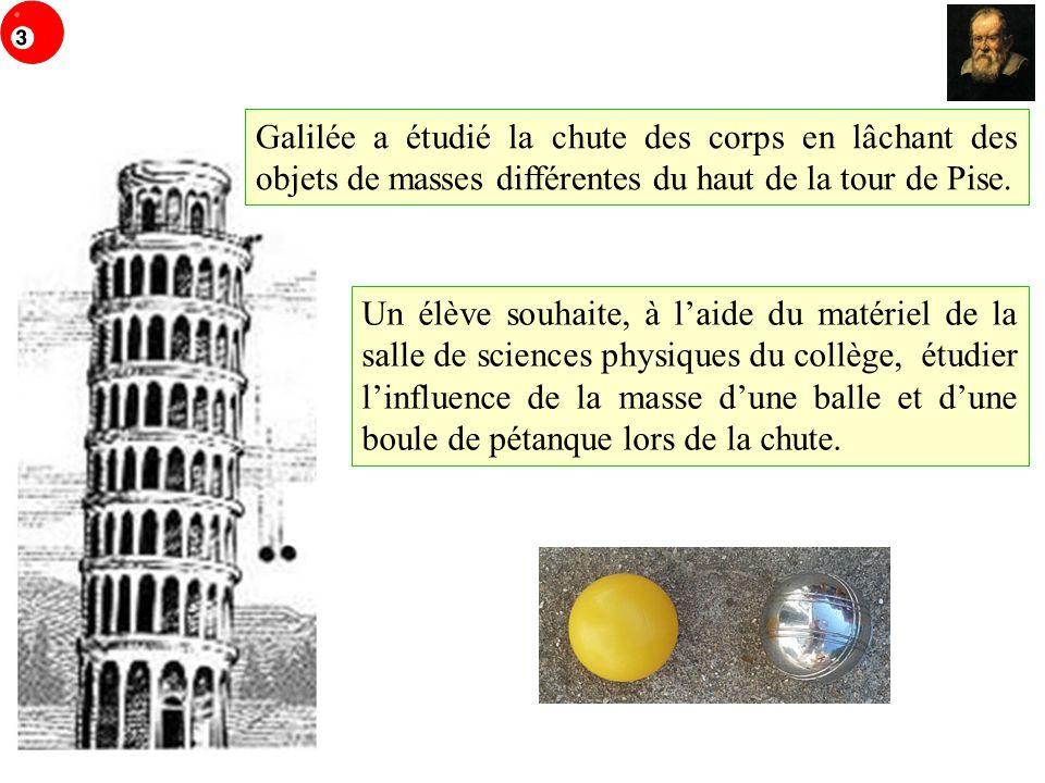 Un élève souhaite, à laide du matériel de la salle de sciences physiques du collège, étudier linfluence de la masse dune balle et dune boule de pétanq
