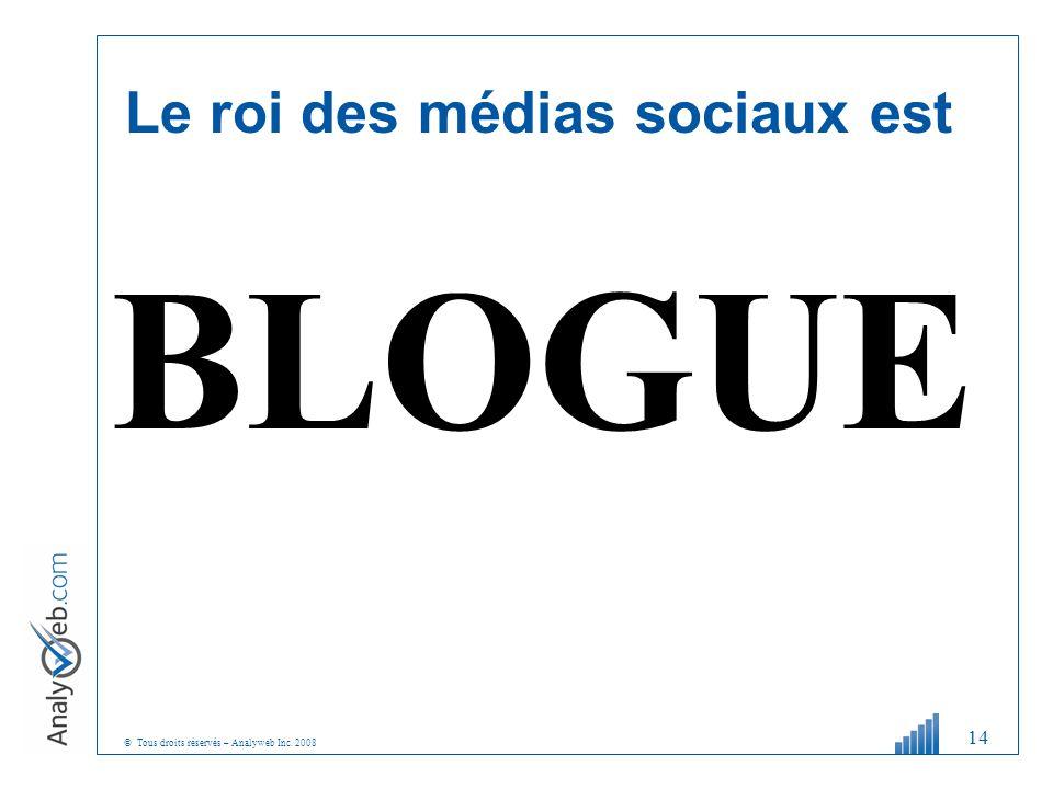 © Tous droits réservés – Analyweb Inc. 2008 Le roi des médias sociaux est BLOGUE 14