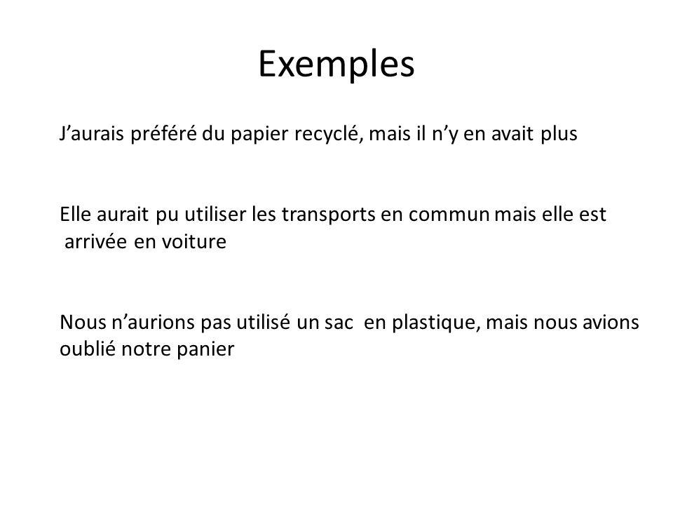 Exemples Jaurais préféré du papier recyclé, mais il ny en avait plus Elle aurait pu utiliser les transports en commun mais elle est arrivée en voiture