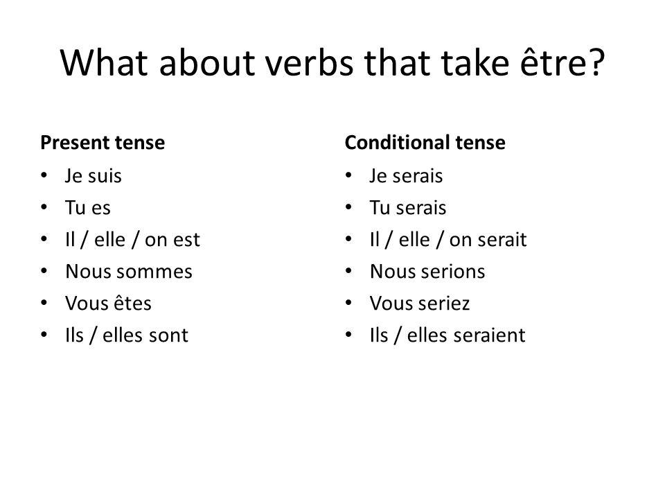 What about verbs that take être? Present tense Je suis Tu es Il / elle / on est Nous sommes Vous êtes Ils / elles sont Conditional tense Je serais Tu