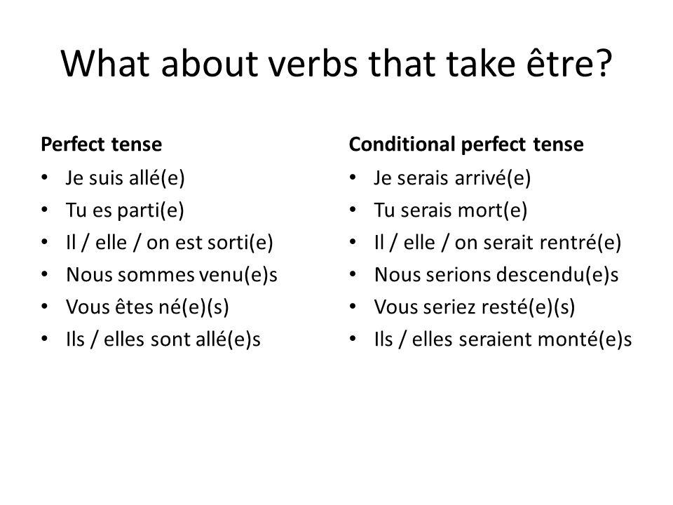 What about verbs that take être? Perfect tense Je suis allé(e) Tu es parti(e) Il / elle / on est sorti(e) Nous sommes venu(e)s Vous êtes né(e)(s) Ils