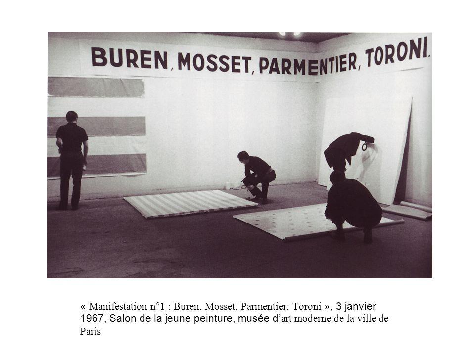 « Manifestation n°1 : Buren, Mosset, Parmentier, Toroni », 3 janvier 1967, Salon de la jeune peinture, musée d art moderne de la ville de Paris