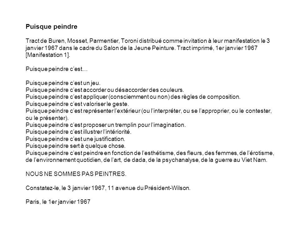 Puisque peindre Tract de Buren, Mosset, Parmentier, Toroni distribué comme invitation à leur manifestation le 3 janvier 1967 dans le cadre du Salon de