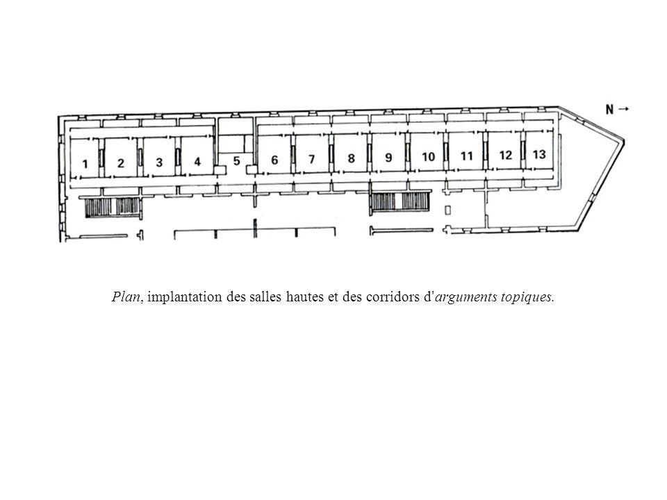 Plan, implantation des salles hautes et des corridors d arguments topiques.