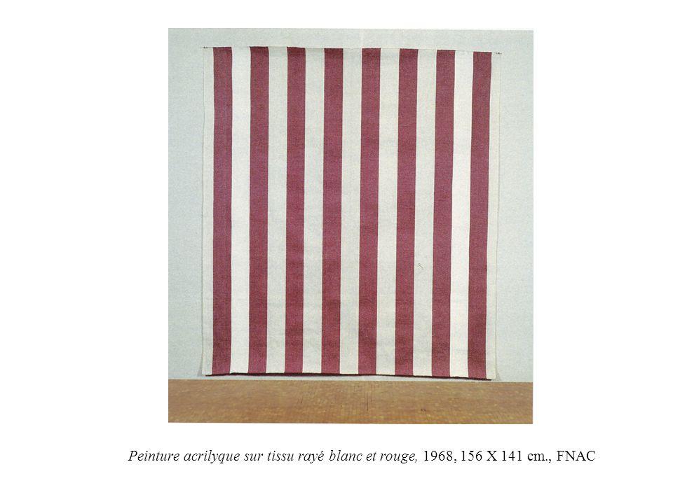 Peinture acrilyque sur tissu rayé blanc et rouge, 1968, 156 X 141 cm., FNAC
