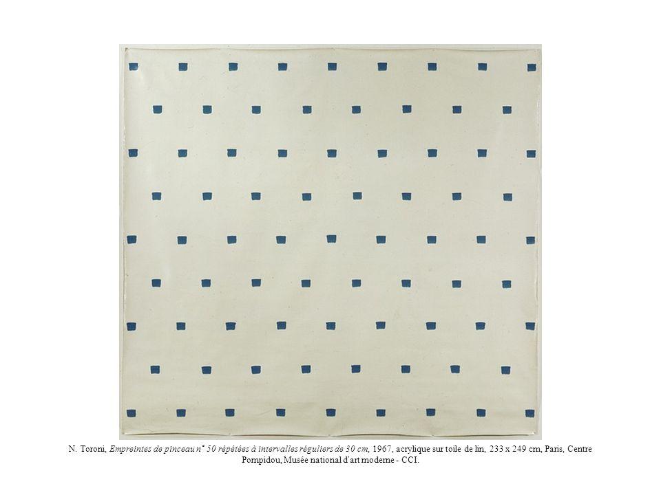 N. Toroni, Empreintes de pinceau n° 50 répétées à intervalles réguliers de 30 cm, 1967, acrylique sur toile de lin, 233 x 249 cm, Paris, Centre Pompid