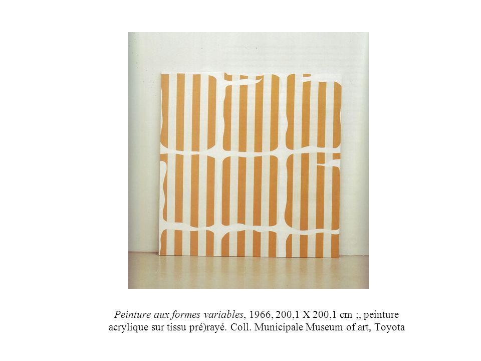 Peinture aux formes variables, 1966, 200,1 X 200,1 cm ;, peinture acrylique sur tissu pré)rayé. Coll. Municipale Museum of art, Toyota