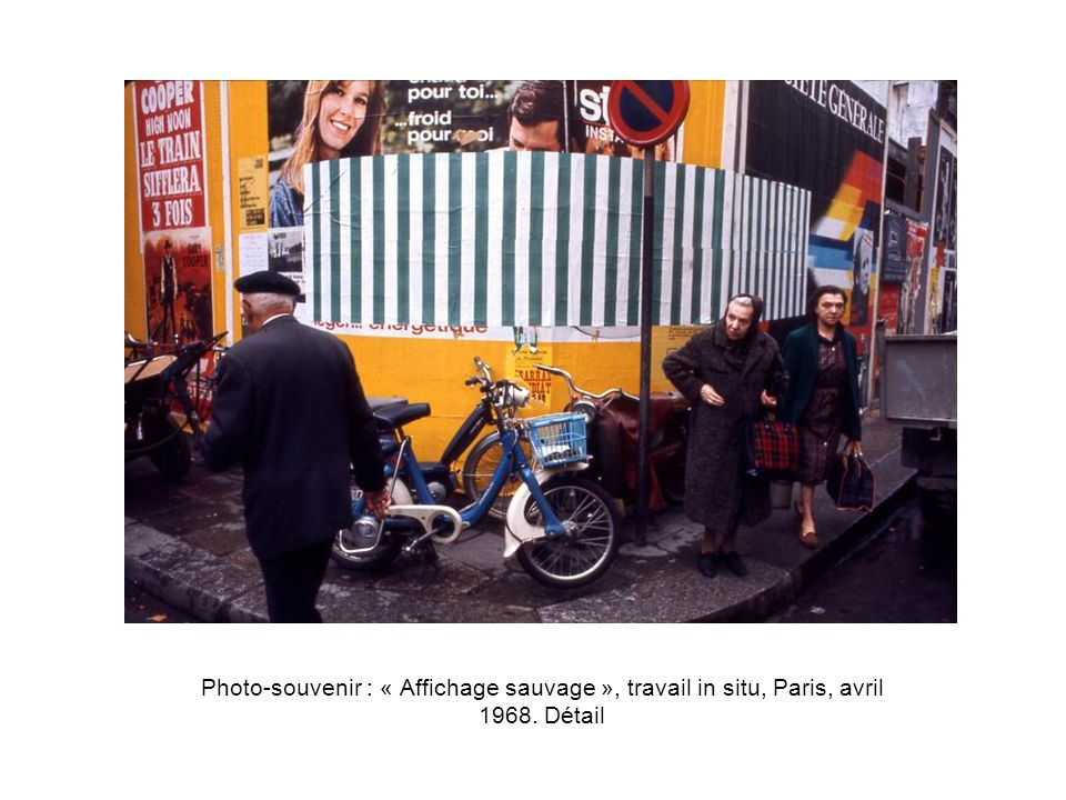 Photo-souvenir : « Le pavillon coupé, découpé, taillé, gravé », 1986, travail in situ, et en relief, pavillon français (« Lion d or »), Biennale de Venise.