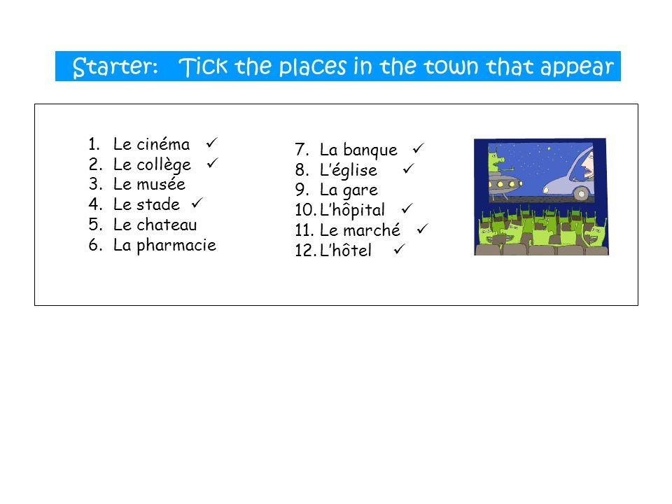 1.Le cinéma 2.Le collège 3.Le musée 4.Le stade 5.Le chateau 6.La pharmacie 7.La banque 8.Léglise 9.La gare 10.Lhôpital 11.Le marché 12.Lhôtel Starter: Tick the places in the town that appear