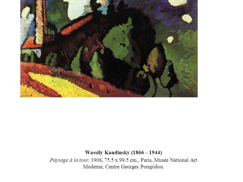 Wassily Kandinsky (1866 – 1944) Paysage à la tour, 1908, 75.5 x 99.5 cm., Paris, Musée National Art Moderne, Centre Georges Pompidou.