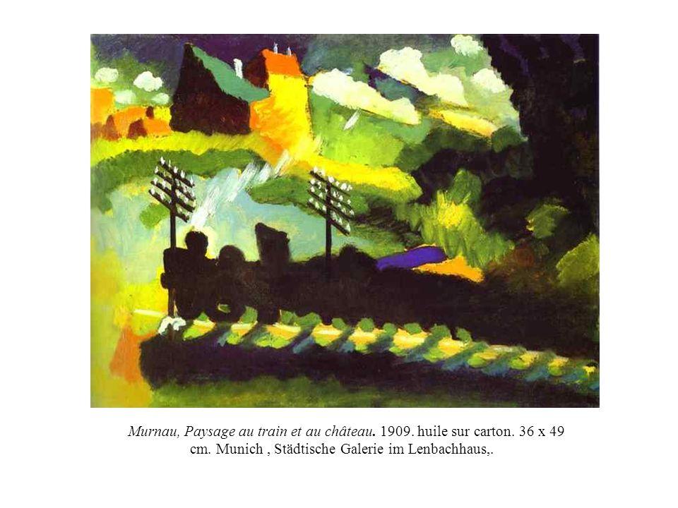 Murnau, Paysage au train et au château. 1909. huile sur carton. 36 x 49 cm. Munich, Städtische Galerie im Lenbachhaus,.