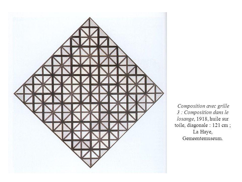 Composition avec grille 3 : Composition dans le losange, 1918, huile sur toile, diagonale : 121 cm ; La Haye, Gemeentemuseum.