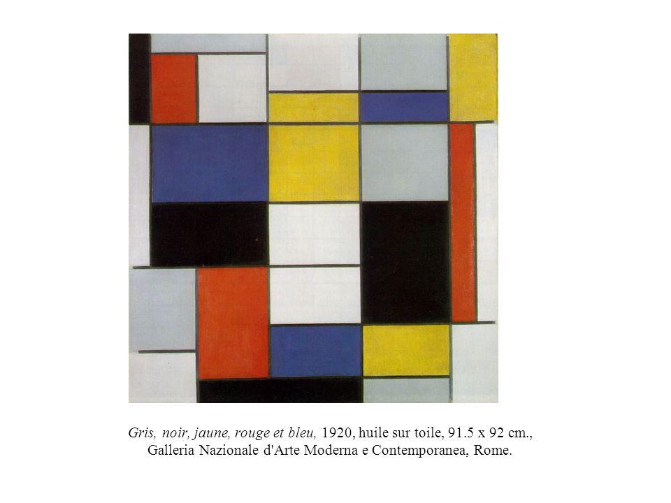 Gris, noir, jaune, rouge et bleu, 1920, huile sur toile, 91.5 x 92 cm., Galleria Nazionale d'Arte Moderna e Contemporanea, Rome.