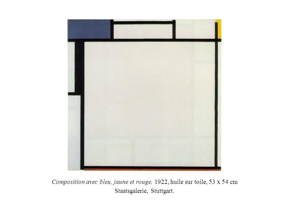 Composition avec bleu, jaune et rouge, 1922, huile sur toile, 53 x 54 cm Staatsgalerie, Stuttgart.