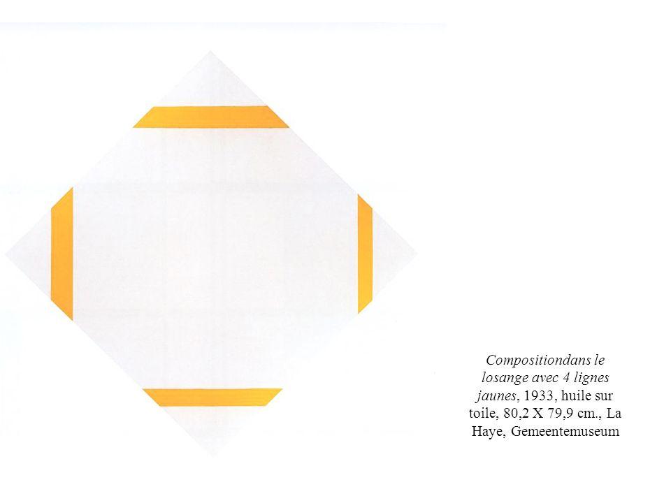 Compositiondans le losange avec 4 lignes jaunes, 1933, huile sur toile, 80,2 X 79,9 cm., La Haye, Gemeentemuseum