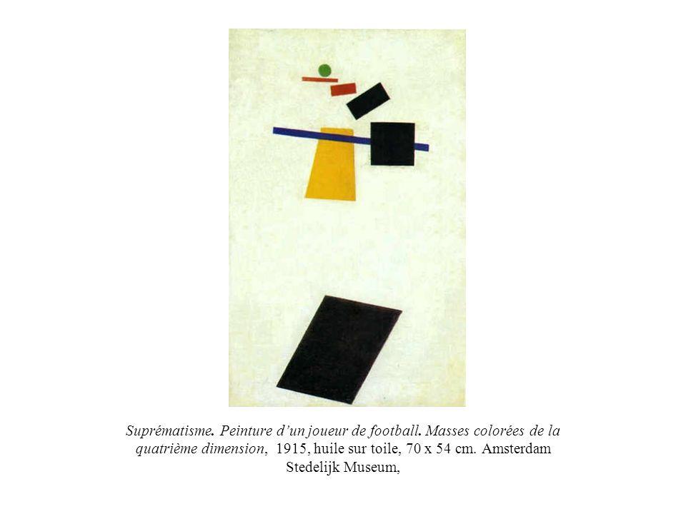 Suprématisme. Peinture dun joueur de football. Masses colorées de la quatrième dimension, 1915, huile sur toile, 70 x 54 cm. Amsterdam Stedelijk Museu