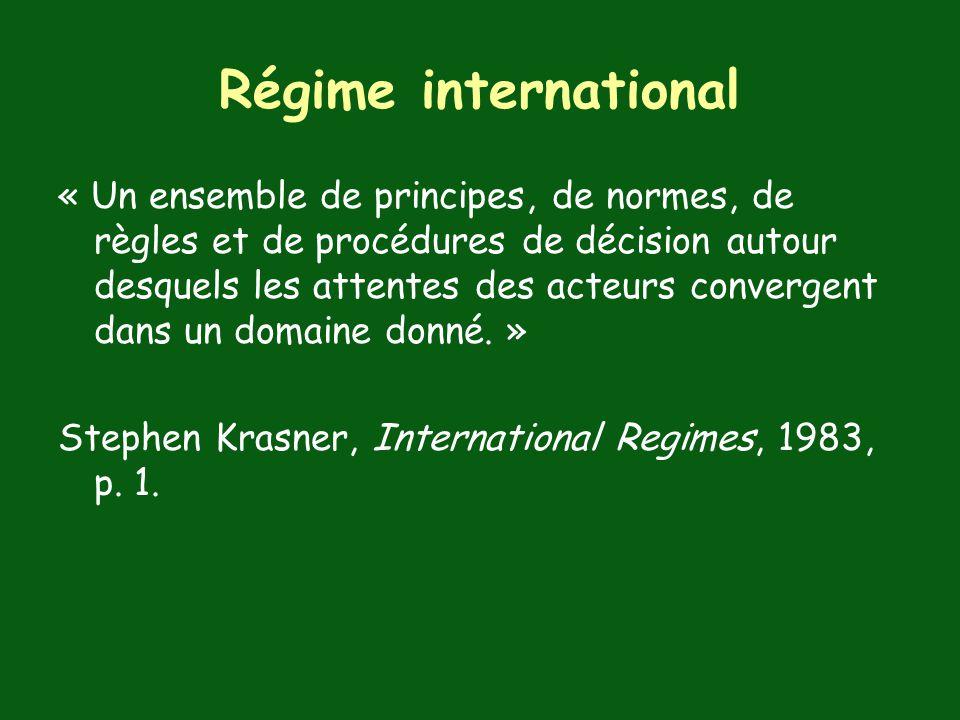 Régime international « Un ensemble de principes, de normes, de règles et de procédures de décision autour desquels les attentes des acteurs convergent dans un domaine donné.