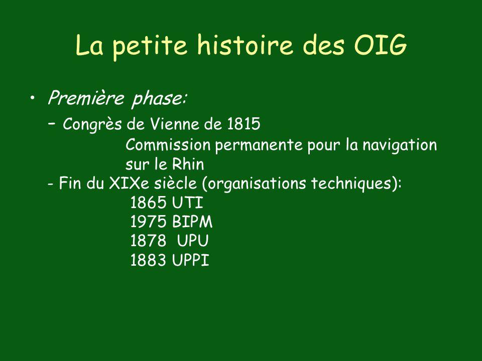 La petite histoire des OIG Première phase: - Congrès de Vienne de 1815 Commission permanente pour la navigation sur le Rhin - Fin du XIXe siècle (organisations techniques): 1865 UTI 1975 BIPM 1878 UPU 1883 UPPI
