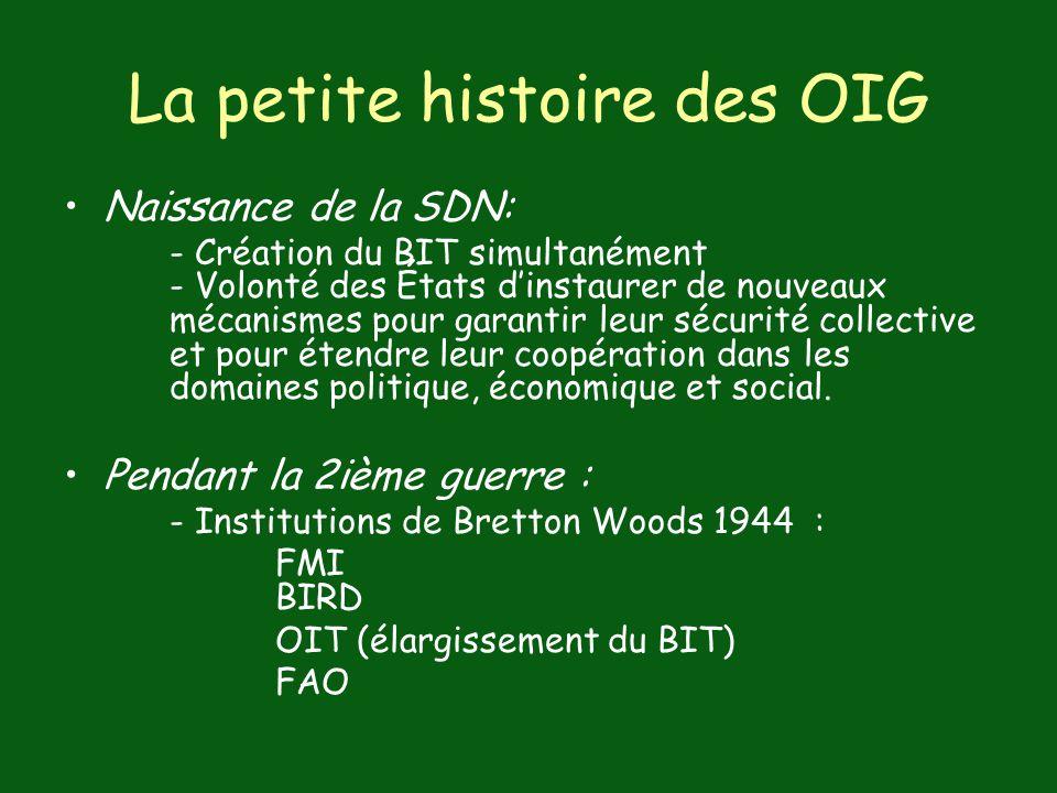 La petite histoire des OIG Naissance de la SDN: - Création du BIT simultanément - Volonté des États dinstaurer de nouveaux mécanismes pour garantir le