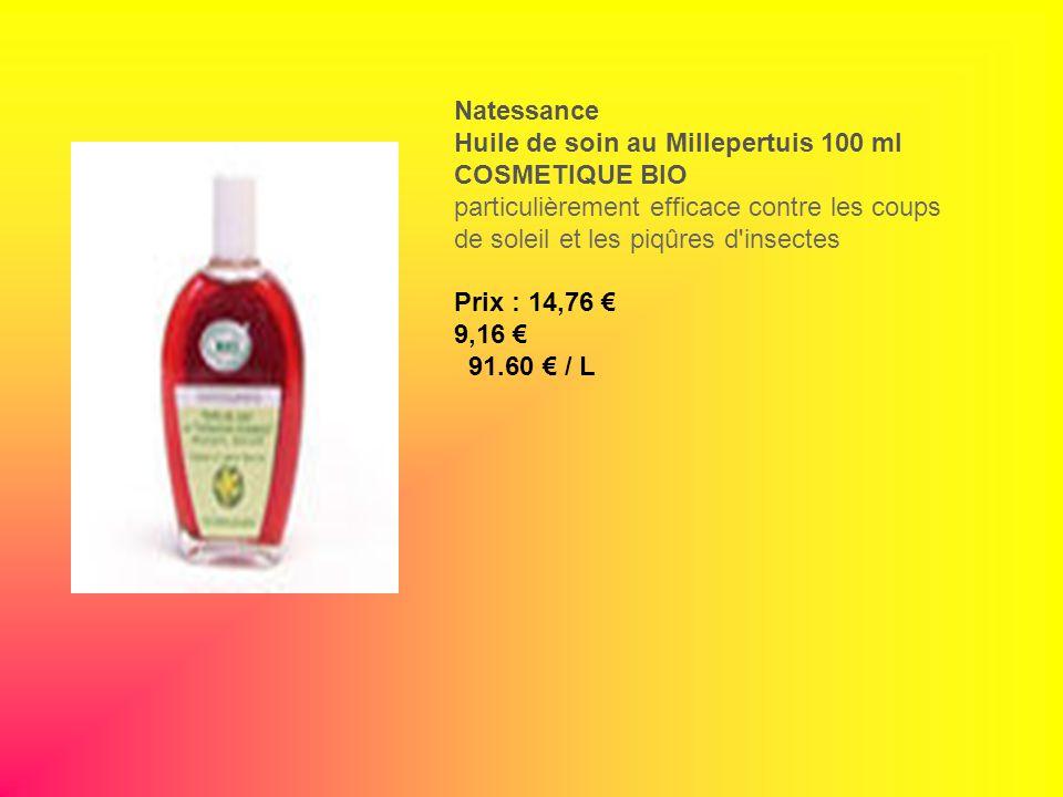 Natessance Huile de soin au Millepertuis 100 ml COSMETIQUE BIO particulièrement efficace contre les coups de soleil et les piqûres d'insectes Prix : 1