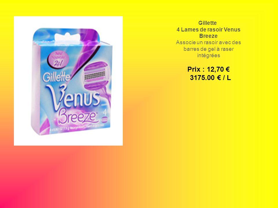 Gillette 4 Lames de rasoir Venus Breeze Associe un rasoir avec des barres de gel à raser intégrées Prix : 12,70 3175.00 / L