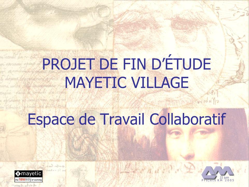 22/06/2005 1 PROJET DE FIN DÉTUDE MAYETIC VILLAGE Espace de Travail Collaboratif