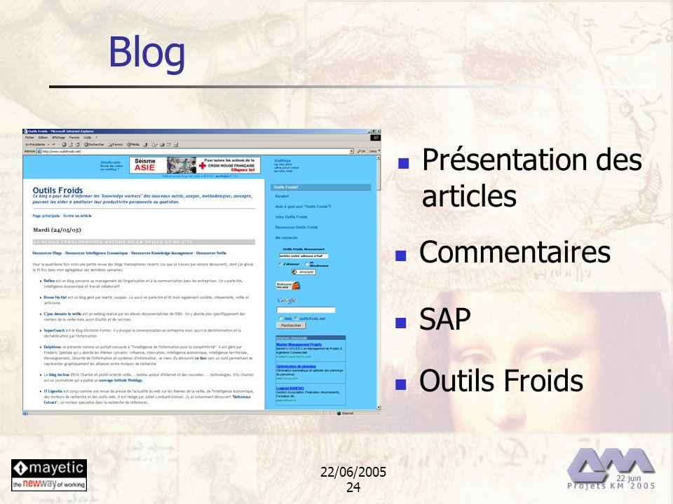 22/06/2005 24 Blog Présentation des articles Commentaires SAP Outils Froids