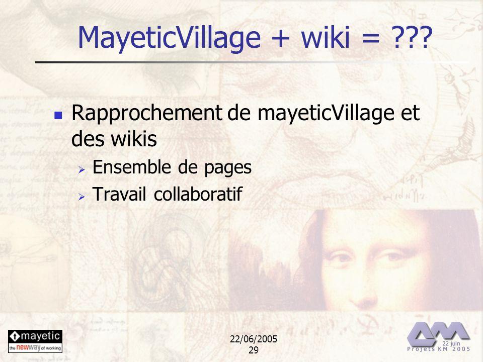 22/06/2005 29 MayeticVillage + wiki = ??? Rapprochement de mayeticVillage et des wikis Ensemble de pages Travail collaboratif