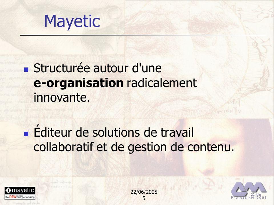 22/06/2005 5 Mayetic Structurée autour d'une e-organisation radicalement innovante. Éditeur de solutions de travail collaboratif et de gestion de cont
