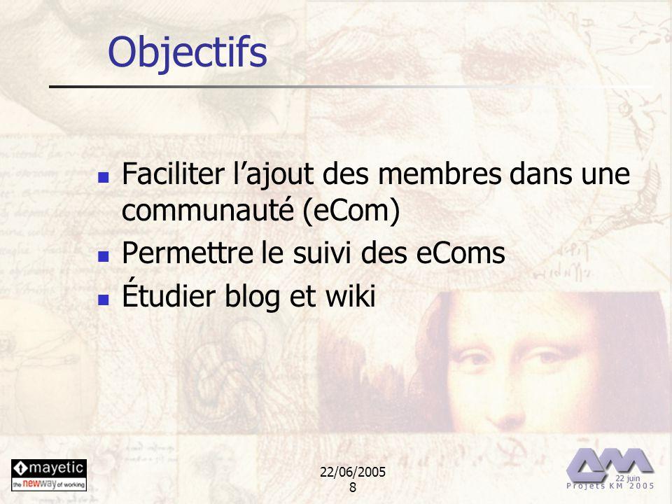 22/06/2005 8 Objectifs Faciliter lajout des membres dans une communauté (eCom) Permettre le suivi des eComs Étudier blog et wiki