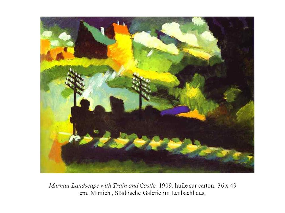 Murnau-Landscape with Train and Castle.1909. huile sur carton.