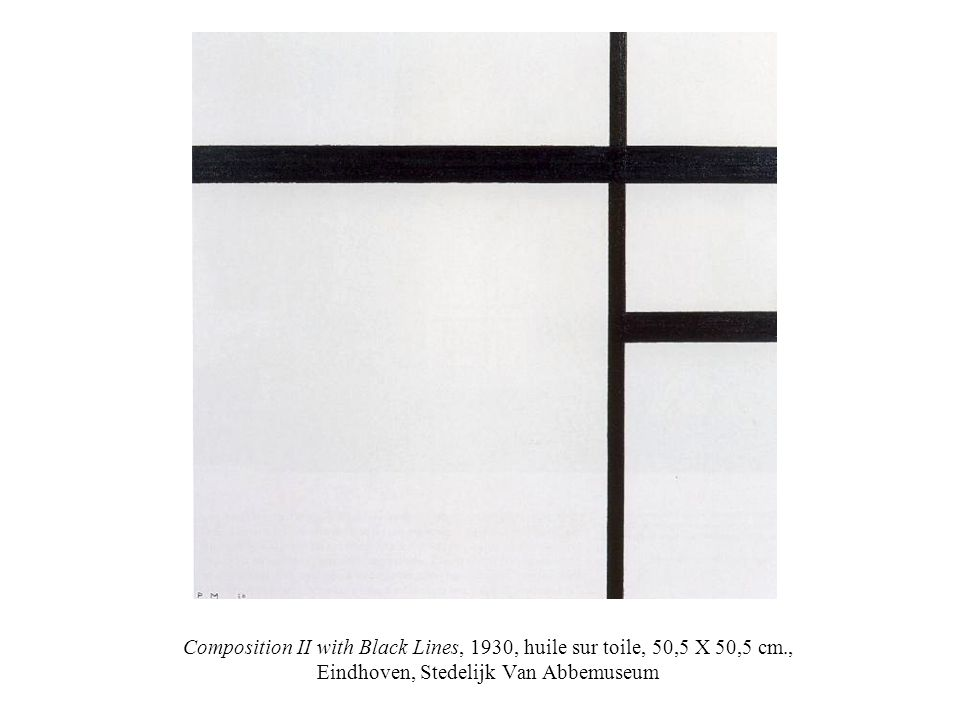 Composition II with Black Lines, 1930, huile sur toile, 50,5 X 50,5 cm., Eindhoven, Stedelijk Van Abbemuseum