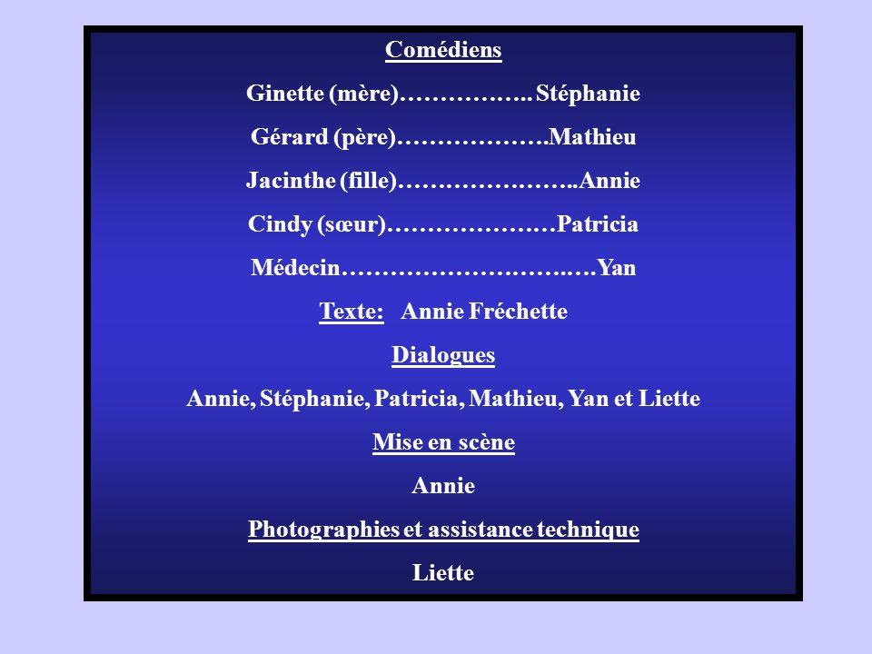Comédiens Ginette (mère)…………….. Stéphanie Gérard (père)……………….Mathieu Jacinthe (fille)…………………..Annie Cindy (sœur)…………………Patricia Médecin……………………….….Ya