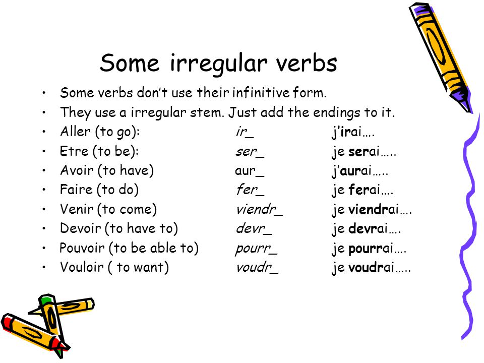 Some irregular verbs Some verbs dont use their infinitive form. They use a irregular stem. Just add the endings to it. Aller (to go): ir_ jirai…. Etre