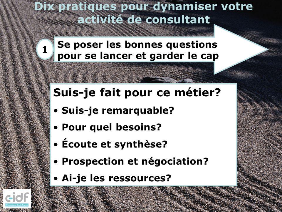 1 Dix pratiques pour dynamiser votre activité de consultant Se poser les bonnes questions pour se lancer et garder le cap Suis-je fait pour ce métier?