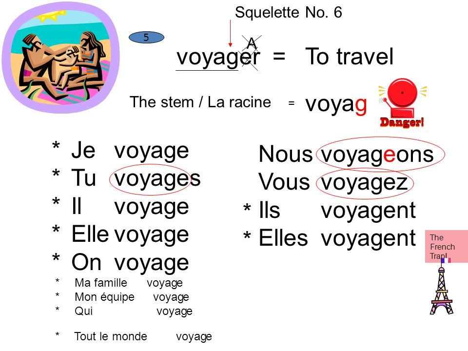voyager =To travel The stem / La racine = voyag 5 Je Tu Il Elle On Ma famille Mon équipe Qui Tout le monde voyag e es e Nous Vous Ils Elles voyag eons
