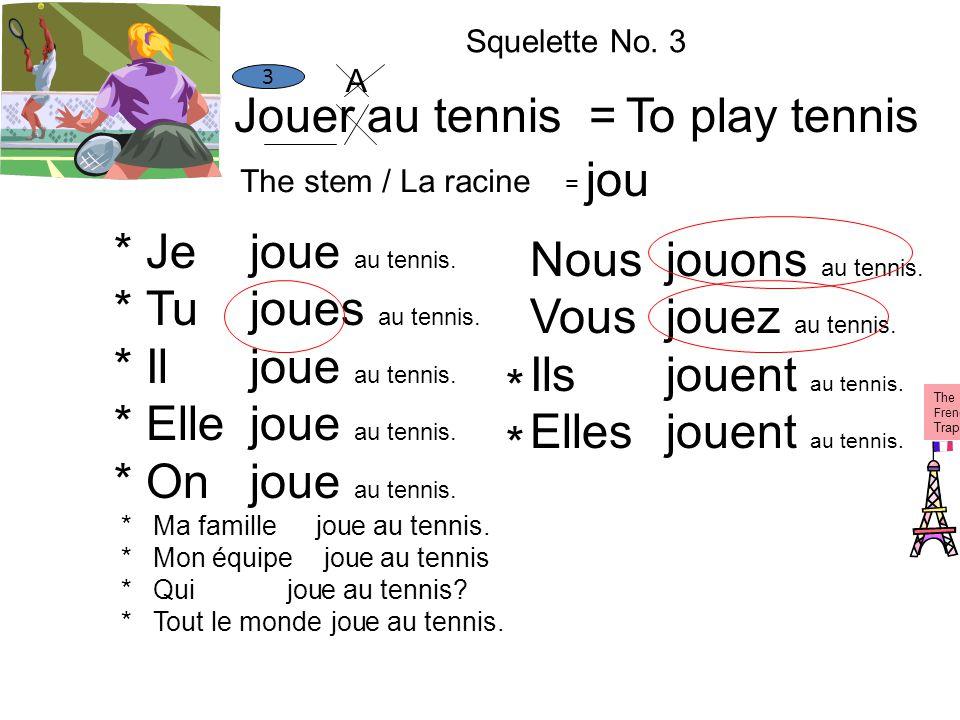 Jouer au tennis =To play tennis The stem / La racine = jou 3 Je Tu Il Elle On Ma famille Mon équipe Qui Tout le monde jou e au tennis. es au tennis. e
