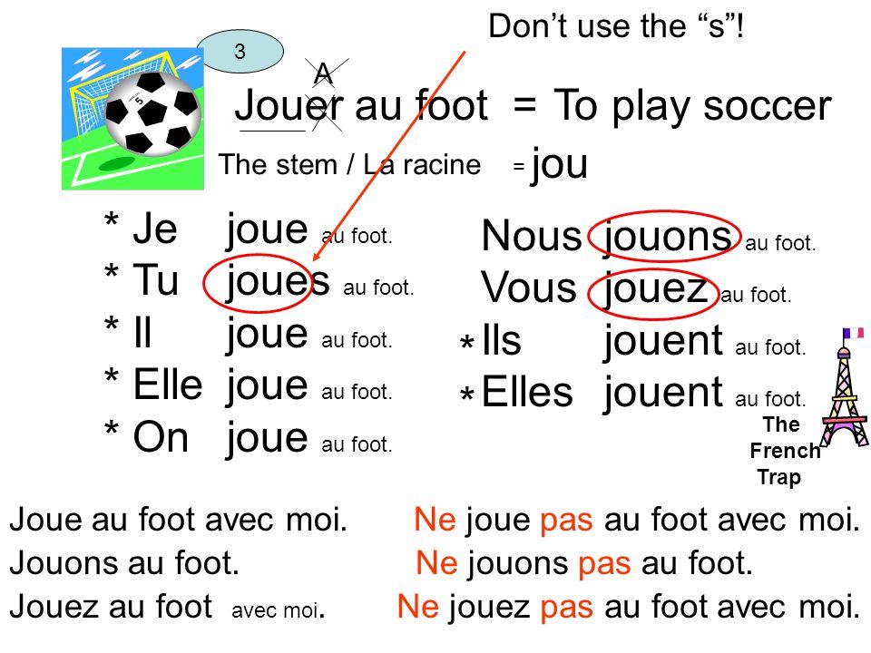 Jouer au foot =To play soccer The stem / La racine = jou 3 Je Tu Il Elle On jou e au foot.
