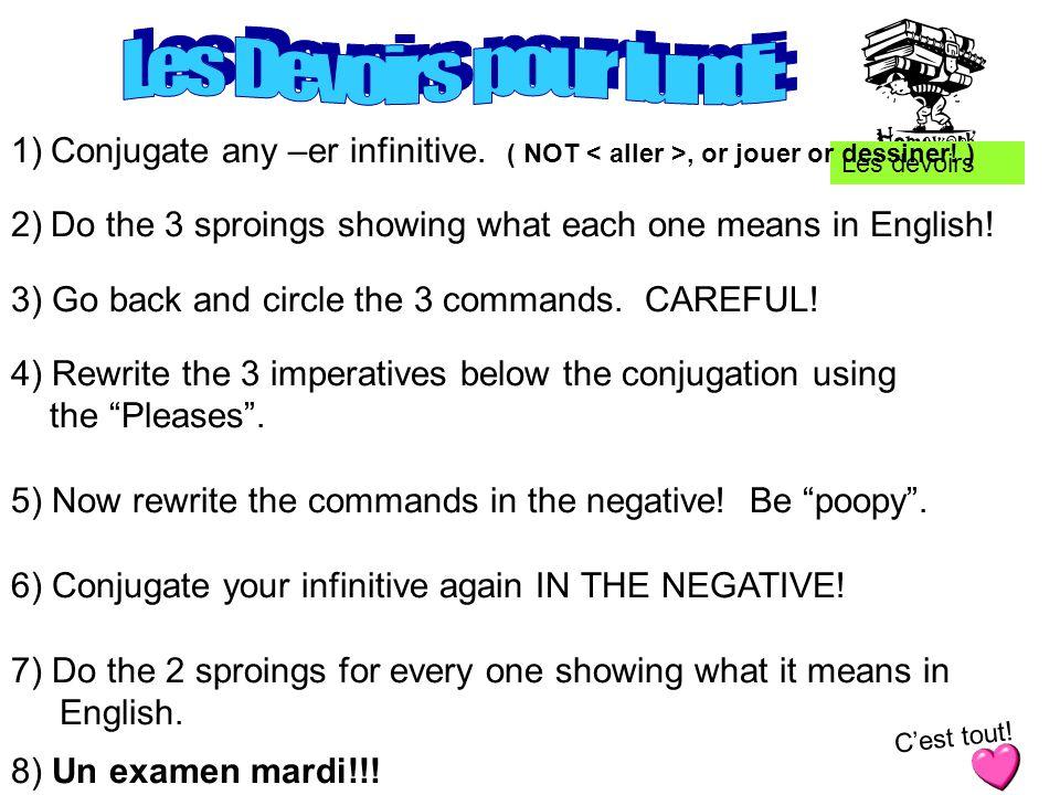 Les devoirs 1)Conjugate any –er infinitive. ( NOT, or jouer or dessiner.